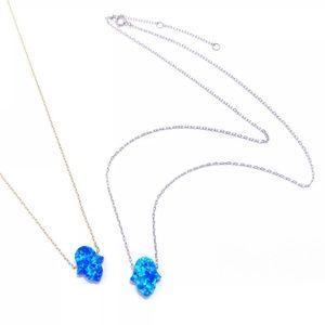 Jewelry - Sterling Silver BLUE OPAL HAMSA-HAND OF GOD NECKL.
